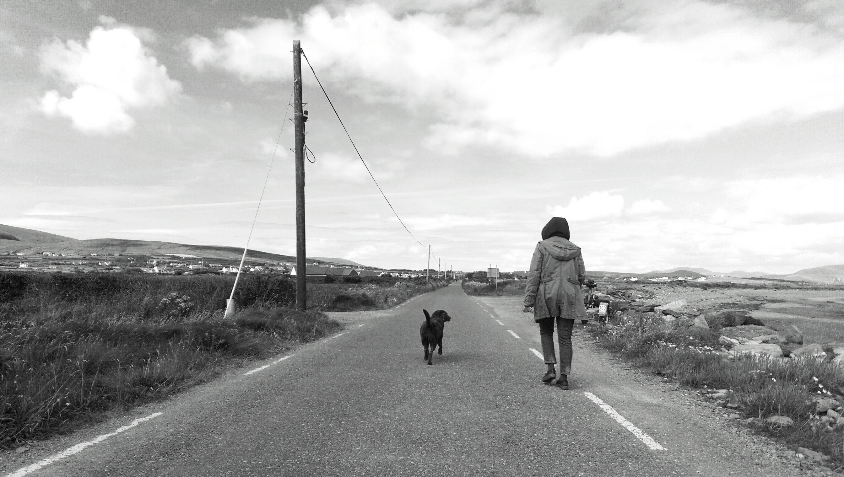 Hund und Frau auf Landstraße